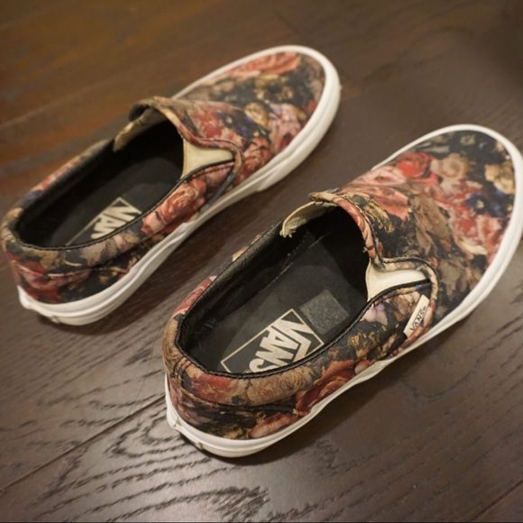 Vans Shoes | Moody Floral Slip On Vans